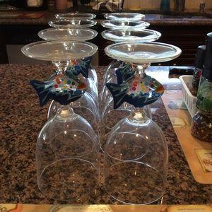Other - Set of (8) Plastic Fish Wine Glasses